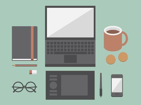 Sul posto di lavoro con i dispositivi mobili e documenti illustrazione
