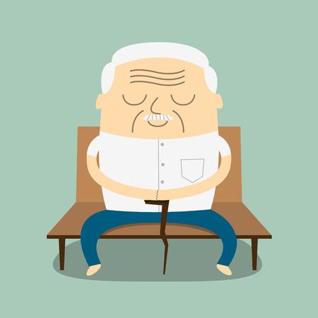 vieil homme assis: illustration de banc Cartoon man Vieux assis Illustration