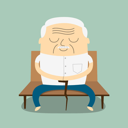 old people: illustration of Cartoon Old man sitting bench