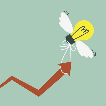 Grafiek van de succesvolle groei van het bedrijf