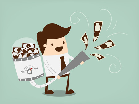 millonario: El hombre de negocios atrae el dinero con una aspiradora grande Vectores