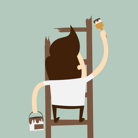 man painting and climbing on ladder Stock Vector - 26068997