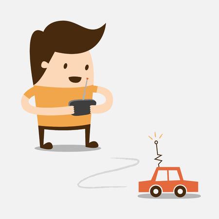 jonge jongen speelt RC auto Stock Illustratie