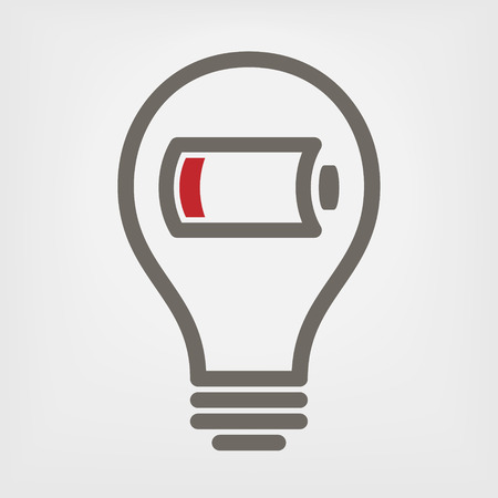 low battery: bulb with low battery sign
