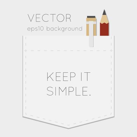 ポケットの背景にペン、鉛筆  イラスト・ベクター素材