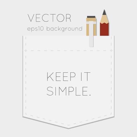 Pocket background with pen and pencil Vector
