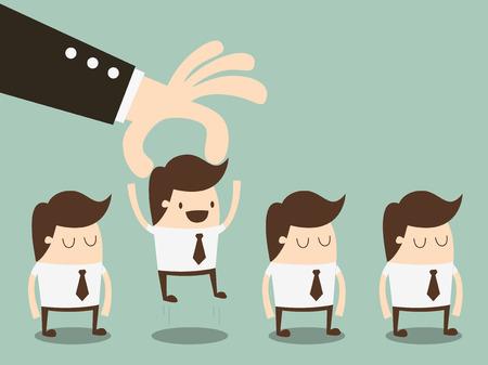 ビジネスマンのビジネスマンのグループからの労働者を選択します。  イラスト・ベクター素材