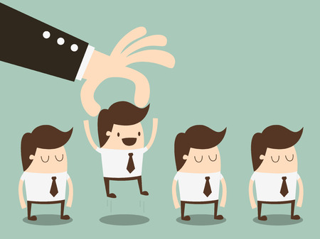 relationship management: businessman choosing worker from group of businesspeople