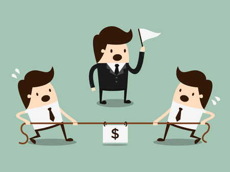 Businessmen in a tug-of-war  competition concept Vector