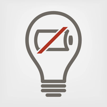power failure: bulb with empty battery icon