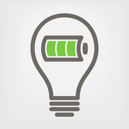 electric charge: bulb with full battery icon