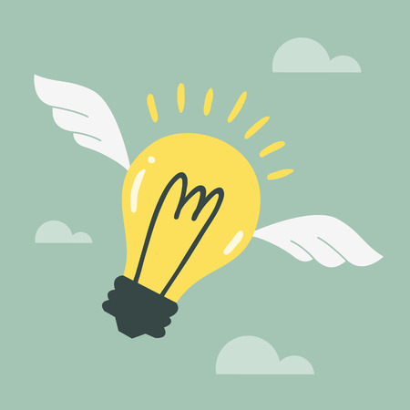 flying light bulb Vector