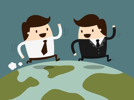 two businessman running together on globe Illustration