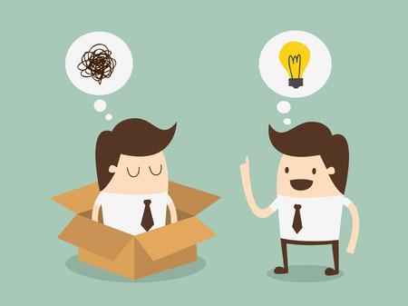 out think: pensar fuera del lado del concepto idea de la caja