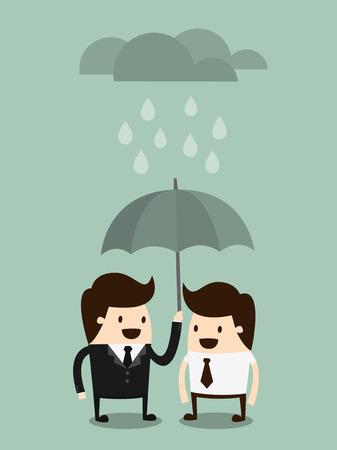 Thuis Files Concept van verzekering bescherming zakenman met paraplu en cloud