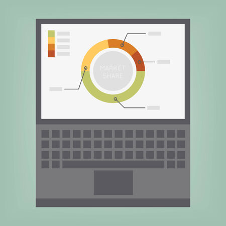 demonstrated: graphs and charts being demonstrated on the screen of a laptop Illustration