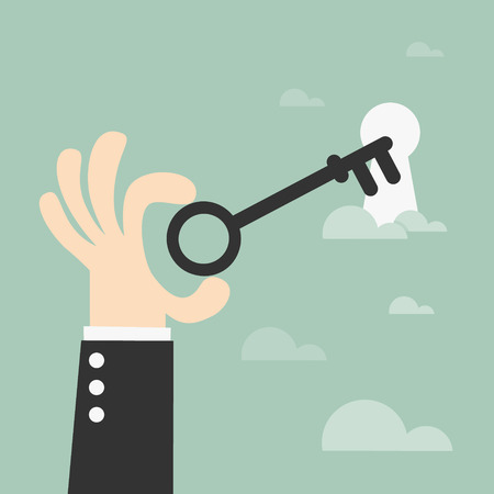 key hole: Unlocking, key in hand – vector illustration