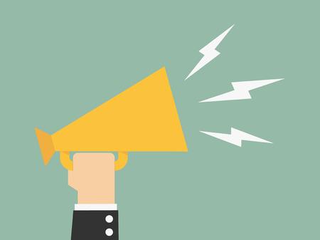 komunikacja: Ręka trzyma megafon, koncepcja marketingowa promocji