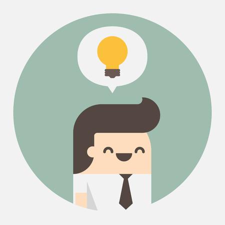 Jeune homme d'affaires avec des idées, illustration vectorielle Vecteurs