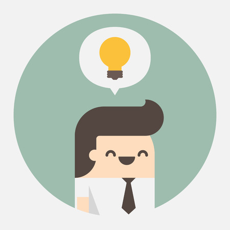 Young businessman with ideas, Vector illustration