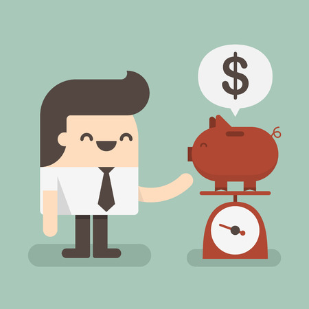 Businessman saving money in a piggy bank  Illustration