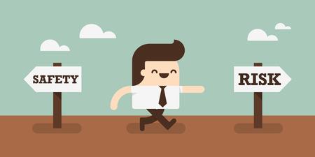 Business man kiezen om een risico te nemen