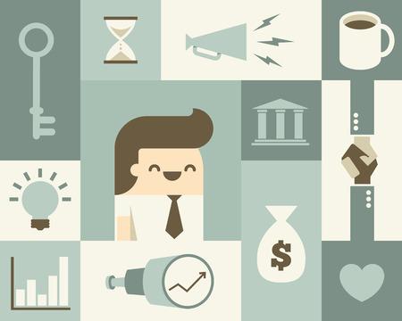 Illustrazione set di icone di affari