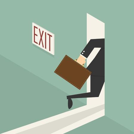 ドアの図を終了する歩くビジネスマン