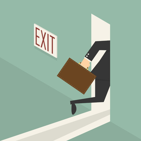 businessman walking to exit door illustration