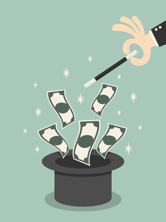 Vuelo del dinero de la chistera mágica