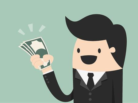 El dinero, la mano que sostiene el dinero ilustración