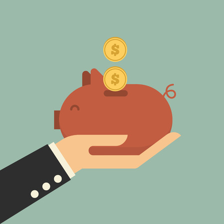 golden coins: Piggy bank money  Illustration