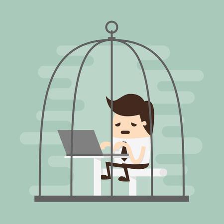 caucasians: Imprenditore annoiato che lavora in gabbia