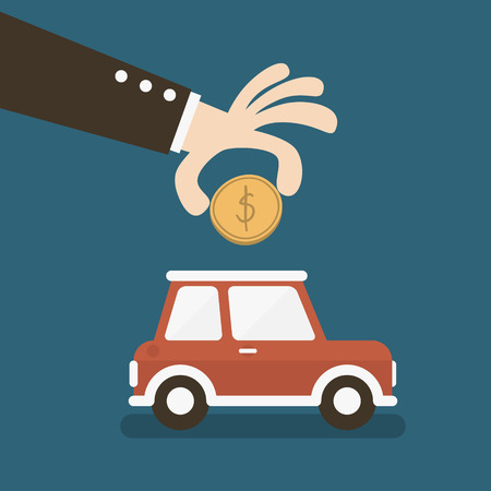 business hand saving money in a car piggy bank  Vector