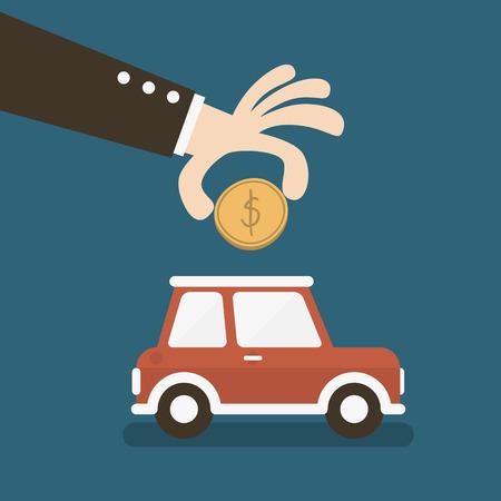 La main d'affaires économiser de l'argent dans une banque voiture tirelire Banque d'images - 26012547