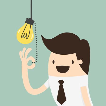 Biznesmen ciągnięcie włącznik światła