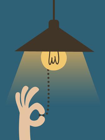 enchufe de luz: Mano tirando del interruptor de luz