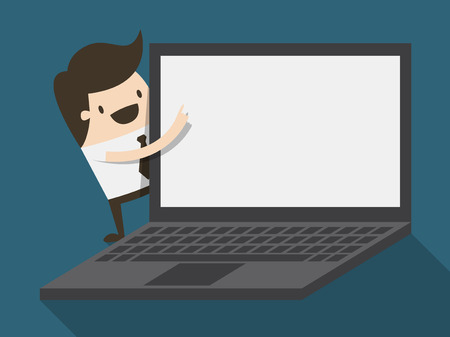 businessman pointing to laptop display Ilustrace