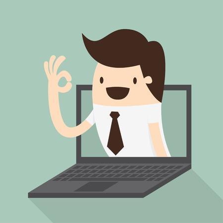 ok: Businessman in laptop screen   illustration Illustration