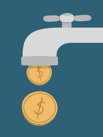 passive: gold coins fall out of the golden tap, Passive Income Concept Illustration