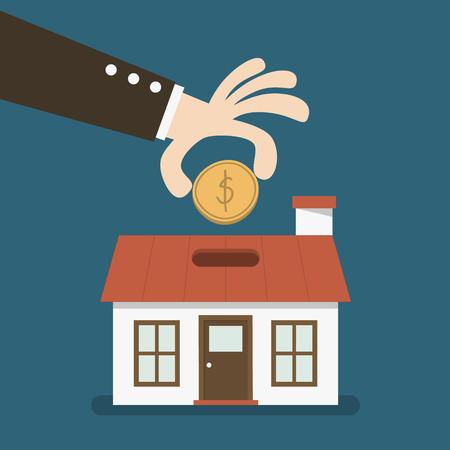 La main d'affaires économiser de l'argent dans une tirelire en forme de maison Banque d'images - 26012551