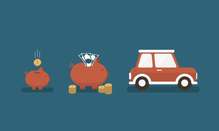 Saving for a car Illustration