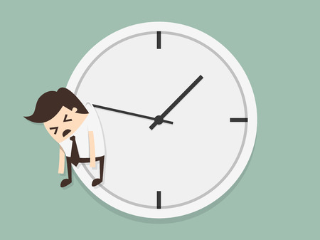 Businessman hangs on an arrow of clock Vector