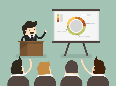 Businessman giving a presentation Ilustracja