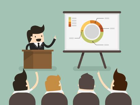 the speaker: Hombre de negocios dando una presentaci�n