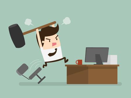 Furious frustated Unternehmer den Computer schlagen