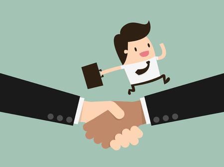 Business handshake and business people Stock Illustratie