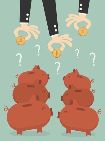 investor: Saving, businessmans hands putting a coin into piggy bank.