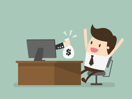hand with a bag of money: online business, eps 10 vector illustration Illustration