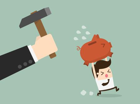 white piggy bank: businessman try to brake piggybank Illustration